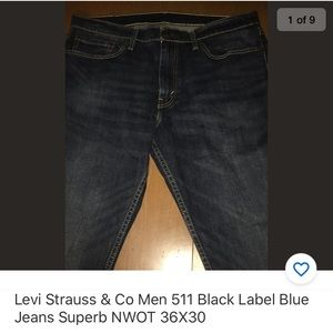 Levi's 511 Men Black Label Blue Jeans NWOT 36X30